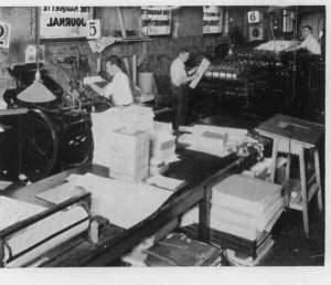 A picture of the Marquette Tribune being printed in Johnston Hall in 1933- (Photo courtesy of @ErinHeff)