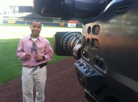 Me shooting a stand-up at Miller Park, home of the Milwaukee Brewers.